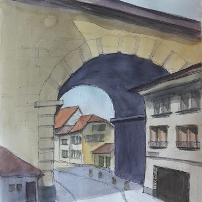 Bern: Blick durch Nydeggbrücke