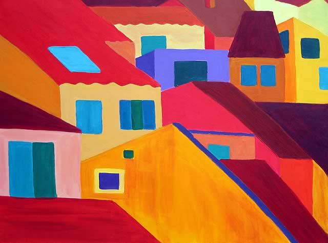 Stadt in Farben 3, 80x60 cm, VERKAUFT